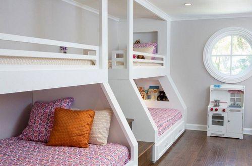 детская для 2 девочек дизайн комнаты для разного возраста мебель в